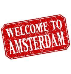 Welcome to amsterdam red square grunge stamp vector