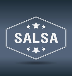 Salsa hexagonal white vintage retro style label vector