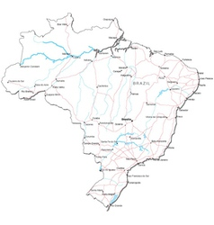 Brazil black white map vector