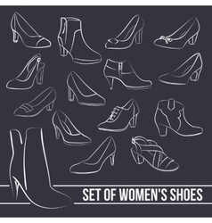 Set in the middle of women s shoes heels painted vector