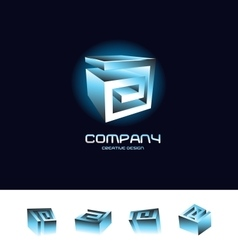 Abstract 3d cube logo design icon set blue vector image