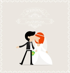 Bride and groom kissing vector image