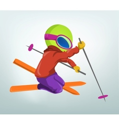 Cartoon Alien Skiing vector image vector image