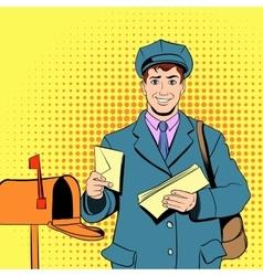 Comics postman holding mail and bag vector image