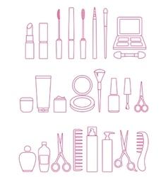 cosmetics line icon set vector image