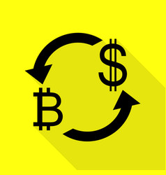 Currency exchange sign bitcoin and us dollar vector