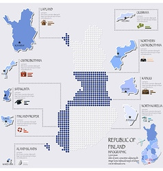 Dot And Flag Map Of Finland Infographic Design vector image vector image