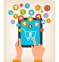 E-shopping concept Hands touching a tablet with vector image vector image