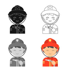 Fireman icon cartoon single silhouette fire vector