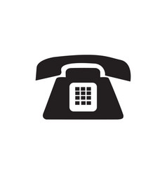 Flat black telephone icon vector