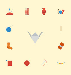 Flat icons pottery macrame dummy and other vector