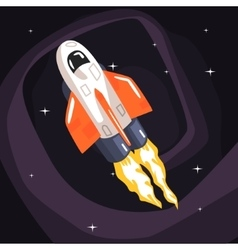 Flying shuttle spacecraft fith flames coming from vector
