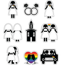 Gay woman wedding 2 icons set with rainbow element vector image vector image