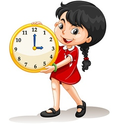 Girl holding yellow clock vector