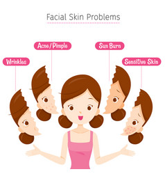 girl with facial skin problems vector image vector image