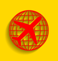 globe and plane travel sign red icon with vector image vector image