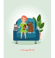 I love my pets Girl on armchair with dog and cat vector image