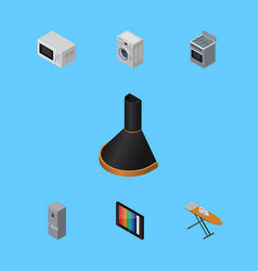 Isometric technology set of stove cloth iron vector
