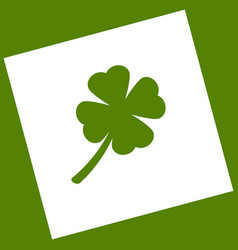 Leaf clover sign white icon obtained as a vector