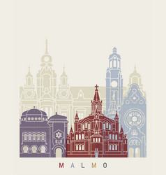 Malmo skyline poster vector