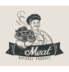 Meat beef sausage logo design template vector