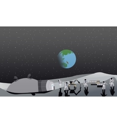 Moon space station vector image vector image