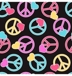Seamless pattern with peace signs hearts vector