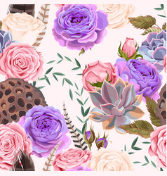 seamless pattern with roses and succulents vector image