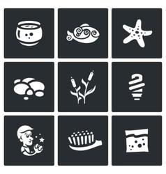 Set of Aquarium Icons Capacity fish vector image