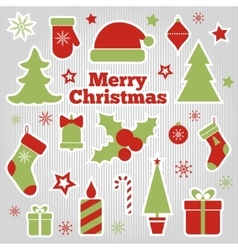 Set of christmas festive stickers vector
