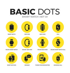 Smart watch flat icons set vector
