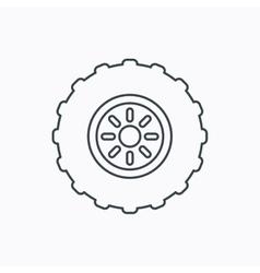 Tractor wheel icon tire service sign vector