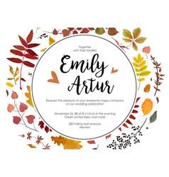 Wedding autumn fall invite invitation floral vector