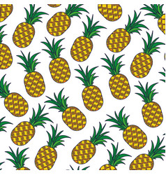 White background with pattern of pineapple fruits vector