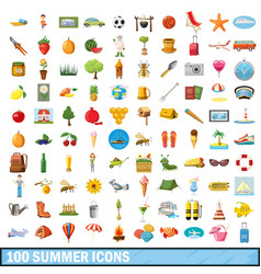 100 summer icons set cartoon style vector