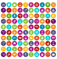 100 team building icons set color vector