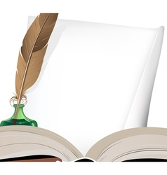 Feather and old book vector