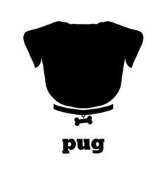 Pug silhouette with bone on the collar Good for vector image