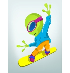 Cartoon alien snowboard vector