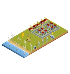 Electric power generation station isometric layout vector