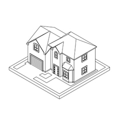 Drawing of private house vector