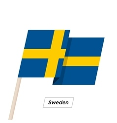 Sweden ribbon waving flag isolated on white vector