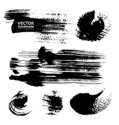 Thick strokes of black paint on textured paper vector