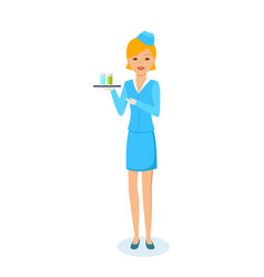 Girl in clothes of stewardess carries tray vector