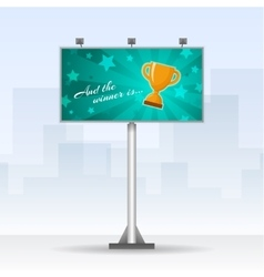Outdoor billboard with winners cup vector