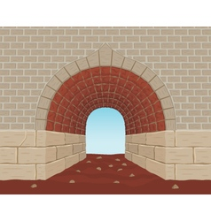 Light at the end of a brick tunnel vector