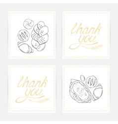Thank you cards with baking vector