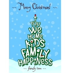 Christmas family tree typography card design vector