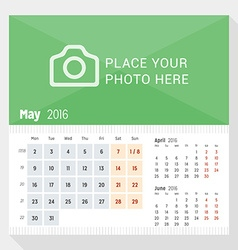 May 2016 desk calendar for 2016 year week starts vector