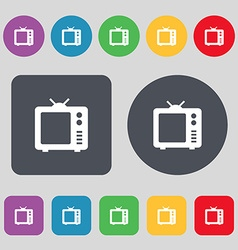 Old tv television icon sign a set of 12 colored vector